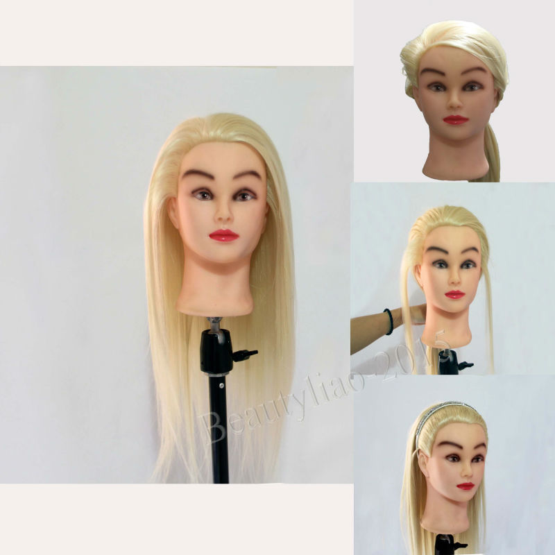 """22"""" 40% Real Human Hair Training Head Hairdressing Cutting Practice Mannequin For Salon Use + Table Clamp(China (Mainland))"""
