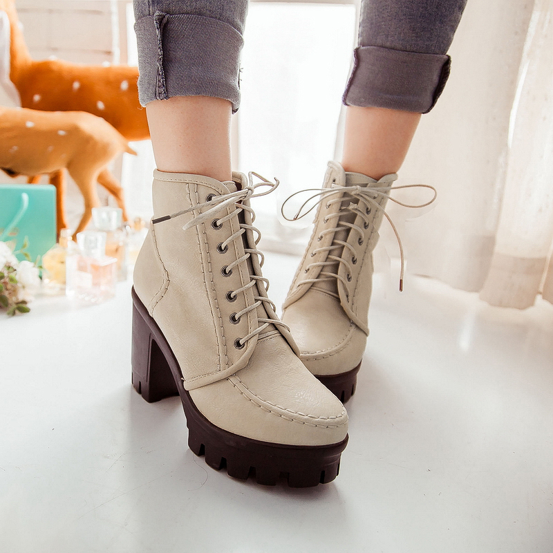 Martin  Boots Fashion high heel Women Boots Botas Mujer Fur  Women Ankle Boots Heels Winter Shoes Warm Snow Shoes 2015