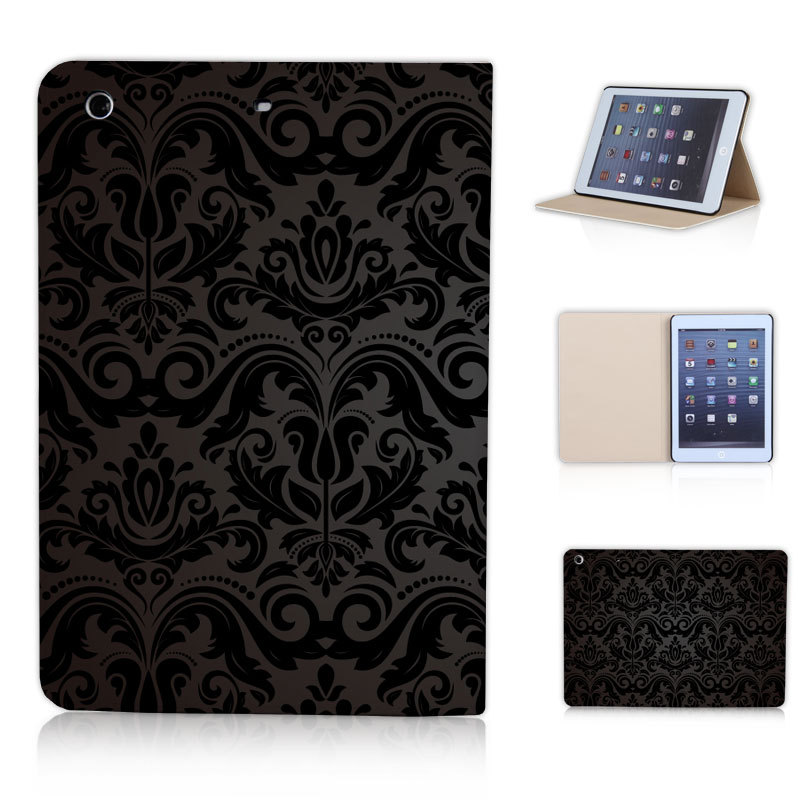 BTD P029-ipmini flip stand leather cover shell special black flower pattern case for ipad mini 1 2 3 Free Screen Film(China (Mainland))