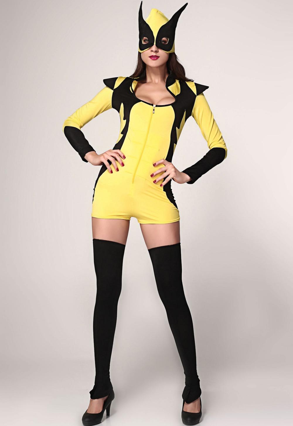 Yellow Masked Super Hero Costume  LC8734  fantasy womenОдежда и ак�е��уары<br><br><br>Aliexpress
