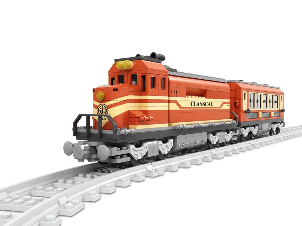 Transportation Building Block Sets Compatible lego ancient Trains 3D Construction Bricks Educational Hobbies Toys Kids