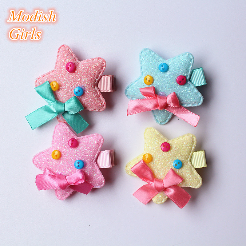 Glitter Leather Synthetic Handmade Hair Clip 30pcs/lot Star Design Felt Shapes Cute Blinking Barrettes Hairpins Kids Children(China (Mainland))
