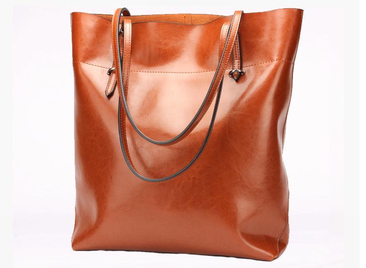 2015 Fashion casual black shoulder bags big cowhide leather oil waxing women's bag genuine leahter handbag