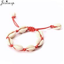 Jisensp Bohemian Style Bead Shell Charm Bracelet Simple Fashion Summer Beach Seashell Stainless Steel Bracelet for Women Girls(China)