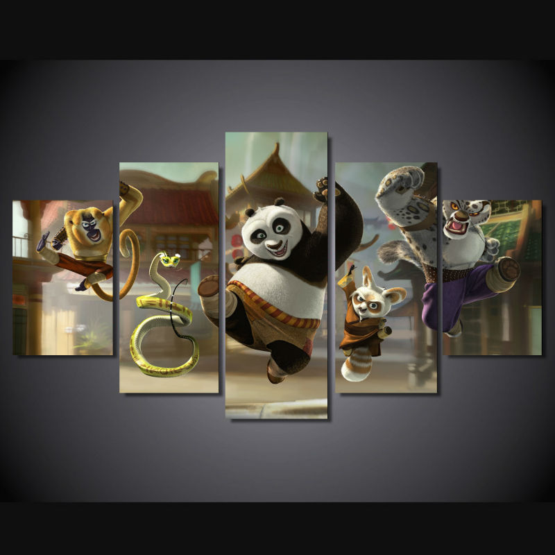 Printed Group Kung Fu Panda Wall Art Picture Canvas Oil Painting by Numbers Fashion Home Decal(China (Mainland))