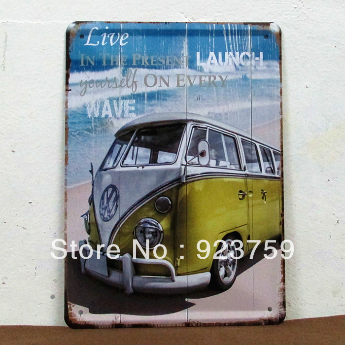 15x21m BEACH BUS paiting vintageTin Sign Bar pub home Wall Decor Retro Metal Art Poster(China (Mainland))