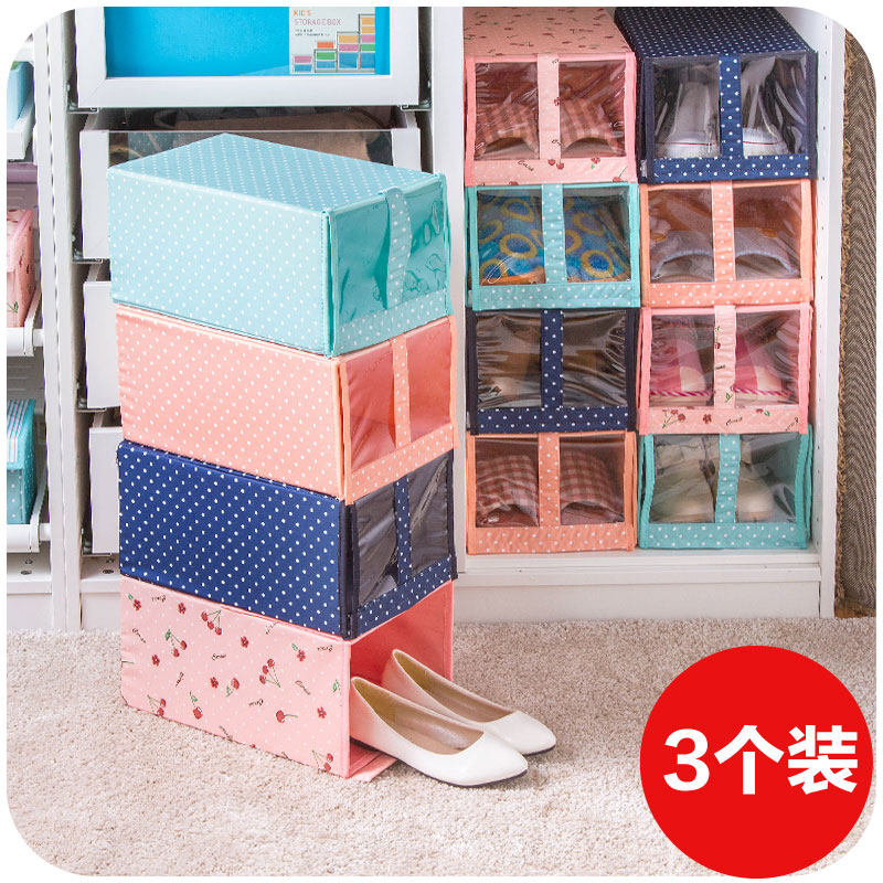 Fresh cloth window transparent storage shoe box three loaded, washable drawer shoe storage box(China (Mainland))