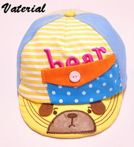 Korean summer baby cartoon bear pocket striped net hat(China (Mainland))