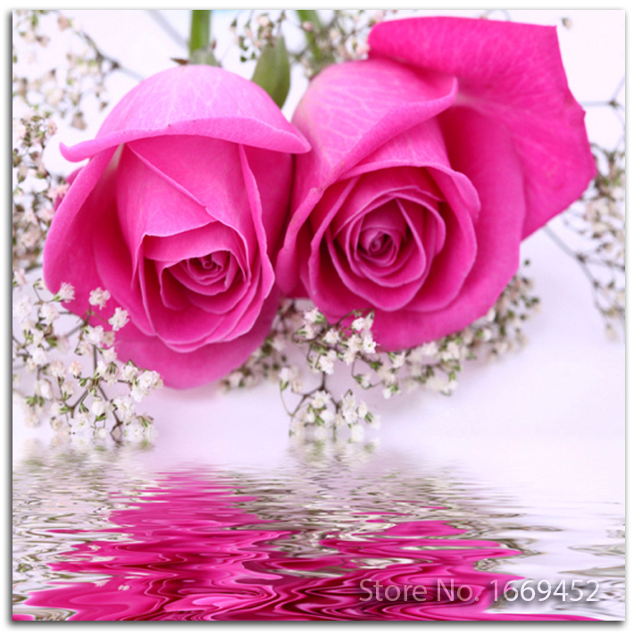 embroidery diamond roses picture of rhinestones Sets Flower rose 5d diamond painting mosaic of crystals Kits for embroidery(China (Mainland))