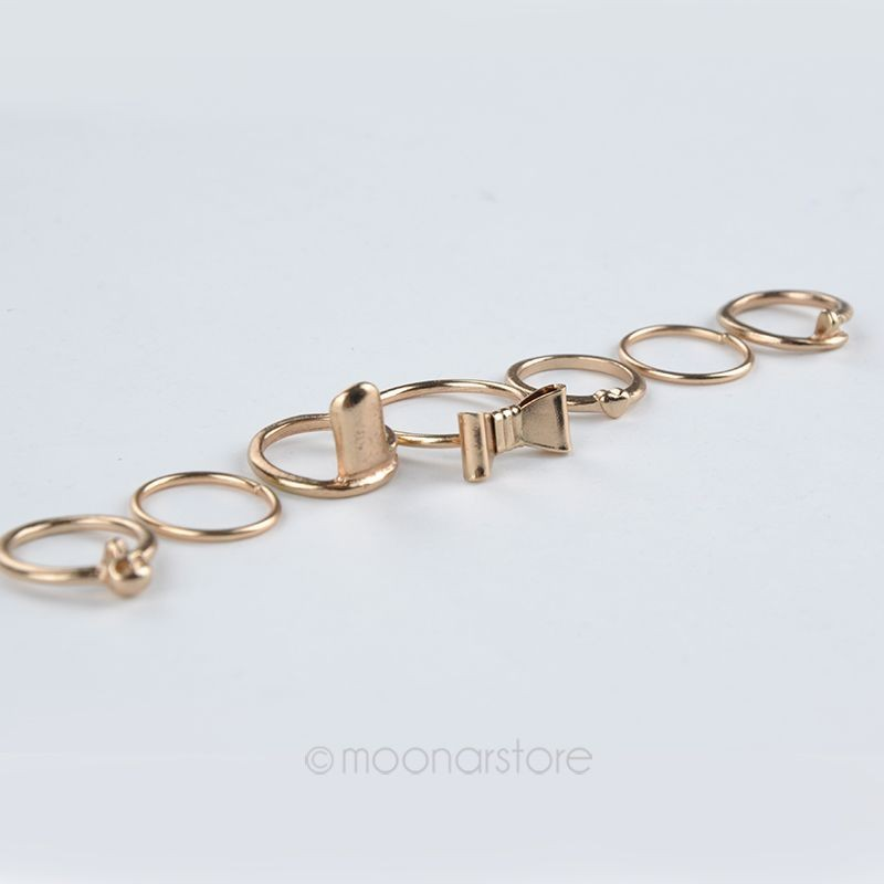 Кольцо OME 7pcs/vogue Y60 * MHM003 #M5 Gold Ring Set