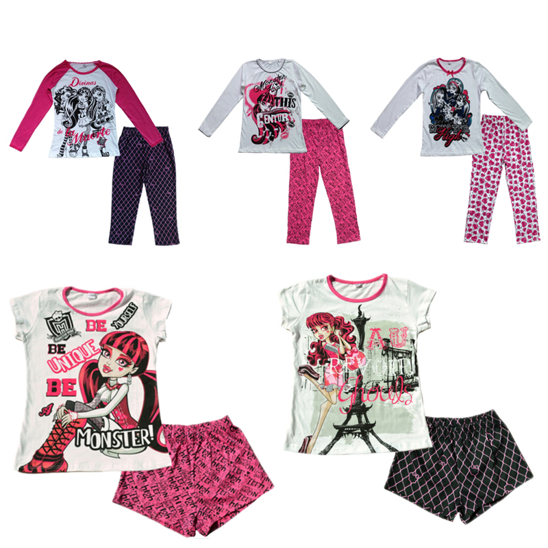 Retail Hot New children kids Monster high school pajamas sleepwear night clothes with lovely carton image Free shipping<br><br>Aliexpress