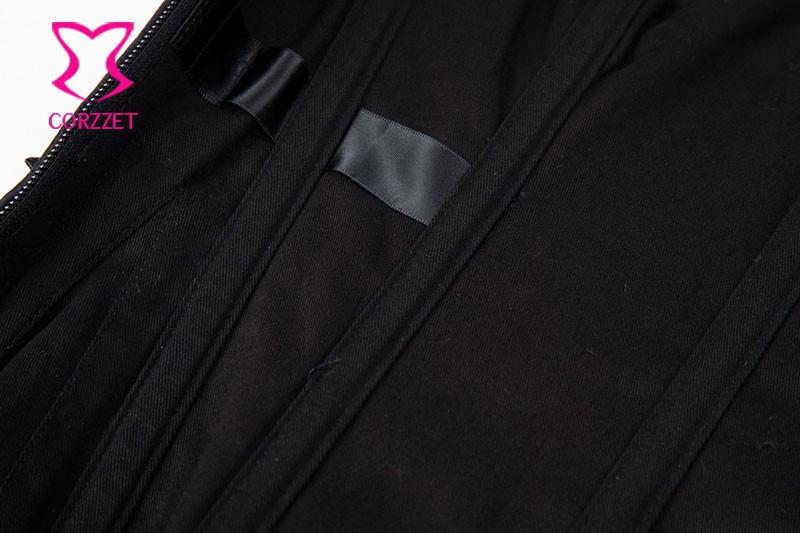 Black Satin & Leather Vintage Armor Bustier Top With Shoulder Bolero Steel Boned Steampunk Corset Plus Size Burlesque Costumes