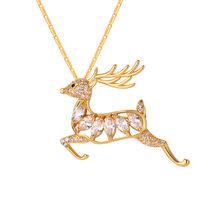 Collare jelenia wisiorek-broszki złoty/srebrny kolor kryształ cyrkonia Celtic Deer zwierząt Buck naszyjnik kobiety P063(China)