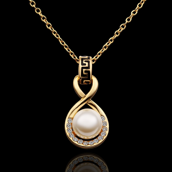 18K Yellow Gold plated fashion jewelry Austria Crystal,rhinestone,CZ diamond,Nickle Free pendant necklace KN606 - fei shao's store