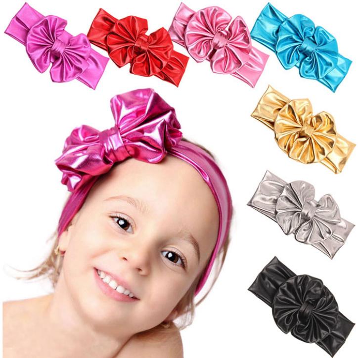 Hot Marketing 2015 New Fashion Children Metallic Messy Big Bow Girls Headband Baby Hairband May7(China (Mainland))