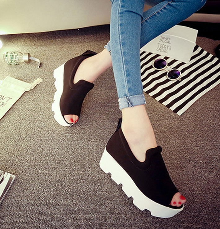 Shoe Woman Platform Women Sandals 2016 Summer Wedge Thick High Heel Letter Open Toe Slip On Women's Shoe#HR646