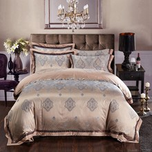Silk bed linen satin jacquard gold red purple pink blue bedding set/bedclothes/bedspread queen king size sheet duvet cover sets(China (Mainland))