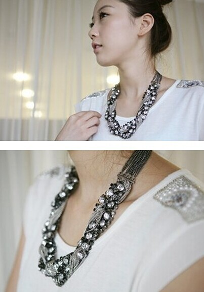 Beaded Chain mixed full necklace sweater chain Chain material: Alloy(China (Mainland))