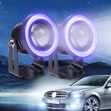 "Buy DWCX 2pcs 2.5"" 10W White LED Projector Fog Lens Driving Light Blue LED Angel Eye Halo Ring Ford BMW Kia VW Audi Honda for $27.29 in AliExpress store"