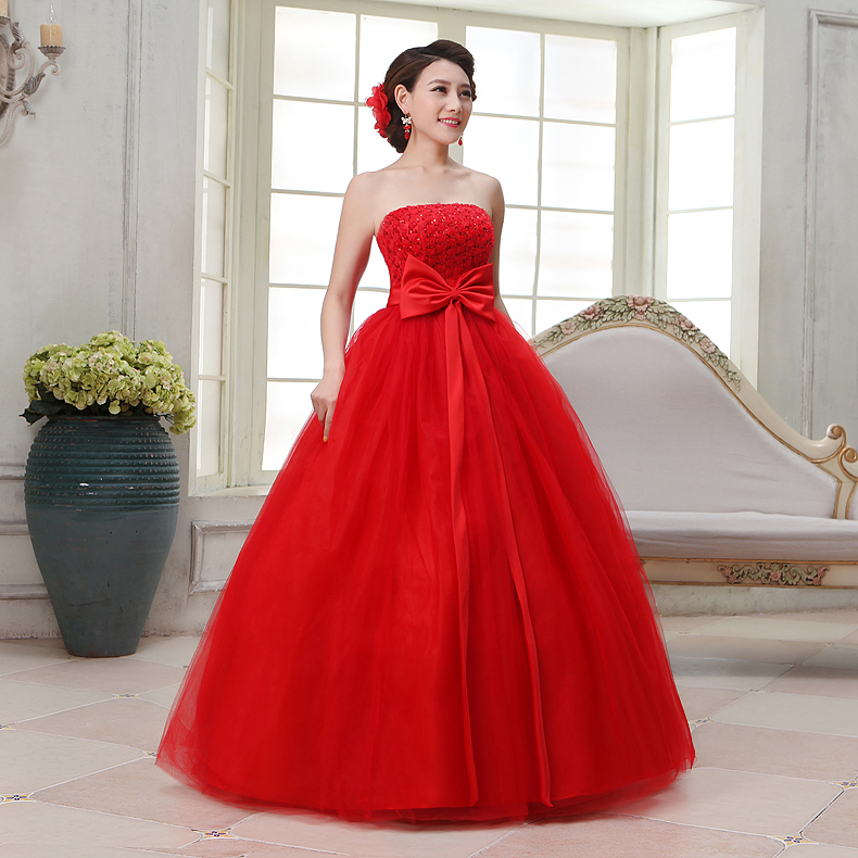 Wedding Dresses Color Red : Casamento wedding dresses red color bridal gown strapless bow waist
