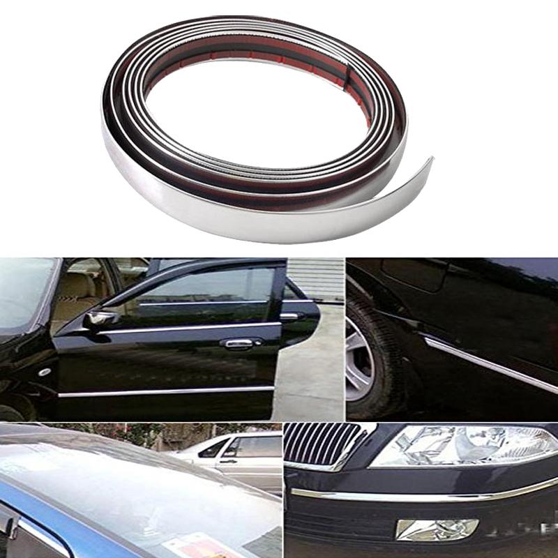 Universal 6MM 8MM 10MM 12MM 15MM 18MM 20MM 22MM 25MM 30MM*15M Car Protector Bumper Guard Chrome Moulding Trim Strip,Car sticker(China (Mainland))