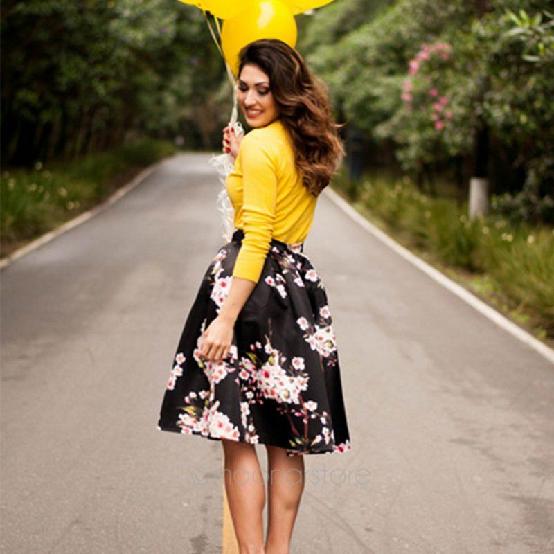 high waisted midi skater skirt | Gommap Blog