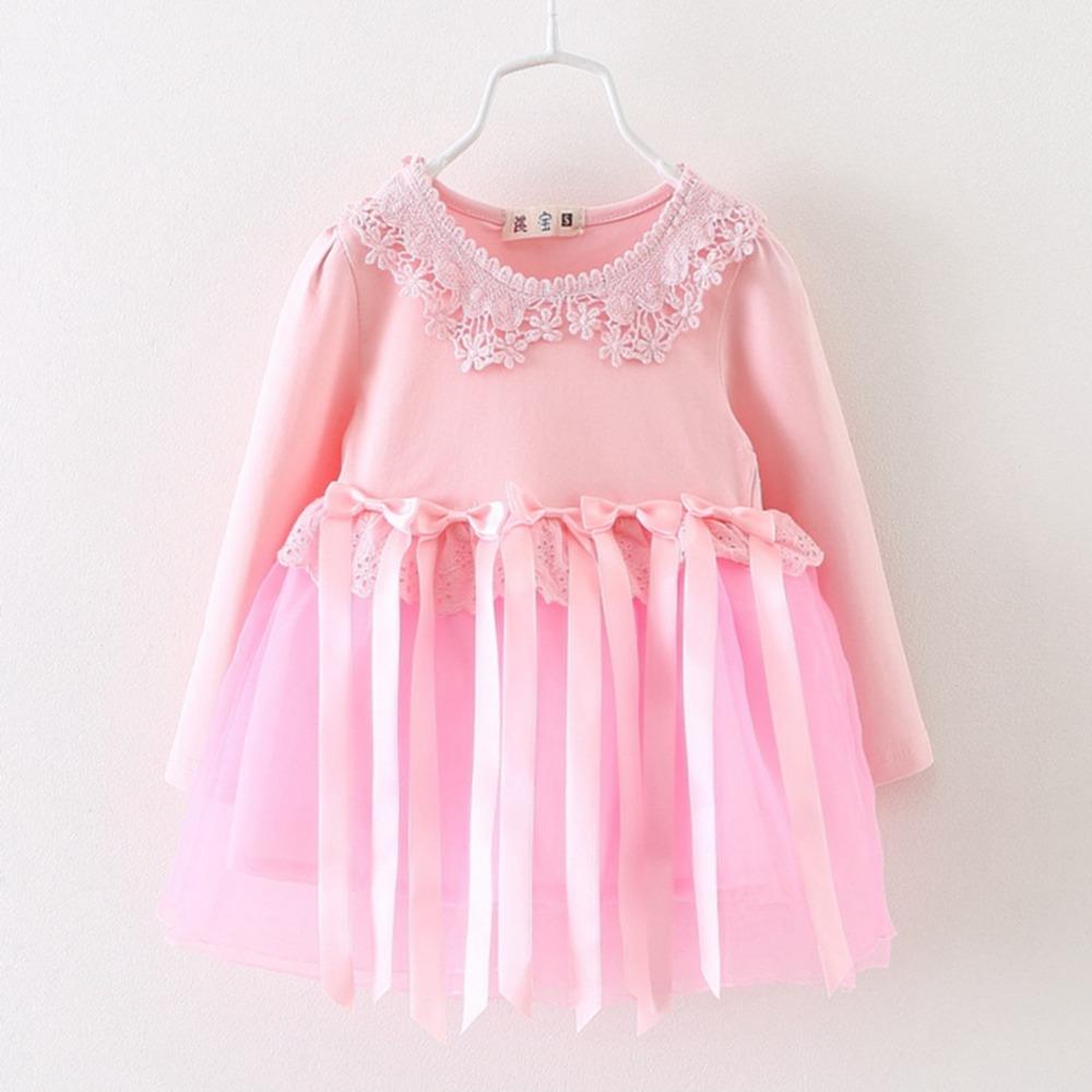 Fashion Spring Autumn Long Sleeve Mesh Bow Tassel Baby Party girls kids Children dresses, princess infant Dress Vestido MT644(China (Mainland))