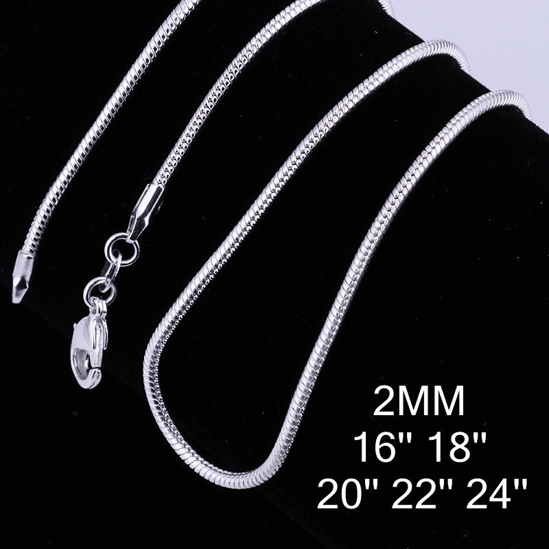 """1Pc Fine Jewelry Findings 16""""-24"""" Snake Necklace Chains Silver Plated 2MM Snake Chain+Lobeter Clasp Women Jewellery for Pendant(China (Mainland))"""