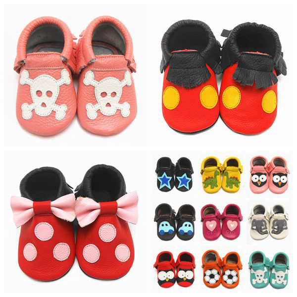 2015 Leather Baby Shoes Boy Soft Soled Infant Animal Printed Tassel Baby Moccasins Newborn Todder Baby Shoes Free Shipping()
