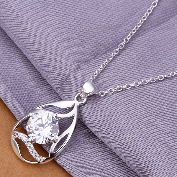 N319 Silver plated Necklace,Water drop crystal pendant necklace18 inch, fashion jewelry for gift,new sale items,free shipping(China (Mainland))