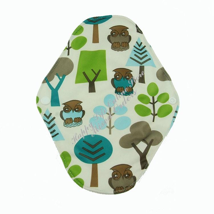 Моющиеся бамбуковые менструальные прокладки с застежкой на кнопке с совами. фото