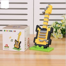 Diamond small particles accumulate instrument guitar DIY puzzle blocks assembled fight inserted toys wholesale model(China (Mainland))