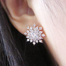 2016 New!!! Ladies Crystal Snow Flake Bijoux Statement Stud Earrings For Women Earring Fashion Jewelry Free Shipping E271(China (Mainland))