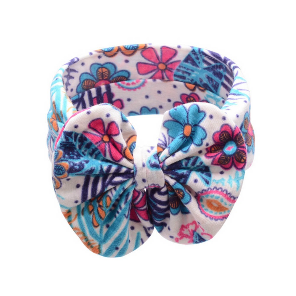Fancy Flower Pattern Cotton Cloth Headband New Printing Big Bow Baby Headband Drop Shipping(China (Mainland))