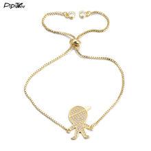בנים ובנות Pipitree קסם צמידי זוג עבור חובבי גברים נשים עלה בצבע זהב תכשיטי שרשרת CZ צמיד קריסטל צמיד(China)