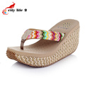 Bohemian Platform Wedges Cane Flip Flops 2015 Casual Shoes Women Summer Leisure Sandals Ladies Open Toe