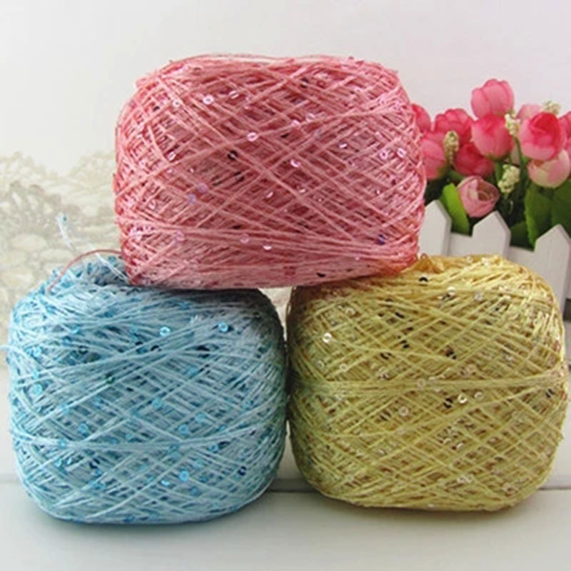 Cheap Yarn : Wholesale Silk Sequins Wool Polyester Yarn For Knitting Crochet Cheap ...