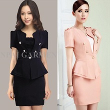 New 2014 Summer Formal Female Pink Blazer Women Business Suits Two Piece Skirt and Top Sets Office Uniform Style Beauty Salon