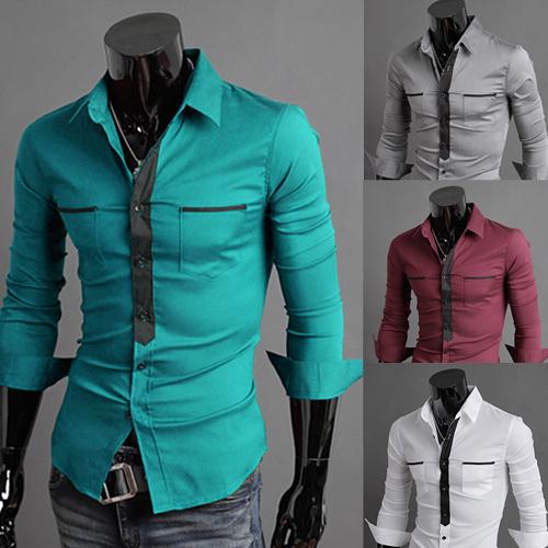 2015 men new fashion slim fit long sleeve dress shirts for Cheap slim fit shirts