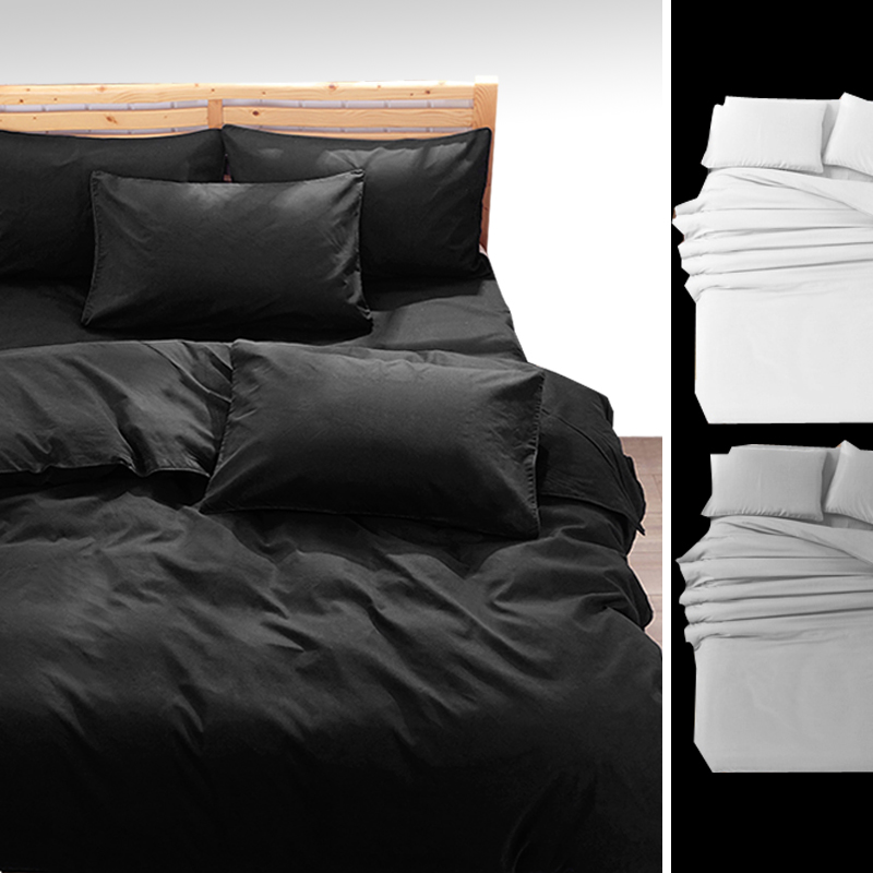 Solid Bedding sets Super King Queen 13 Size,Duvet Quilt cover set,Bedroom Bedding,Home Textiles Black Gray White #ZY15(China (Mainland))