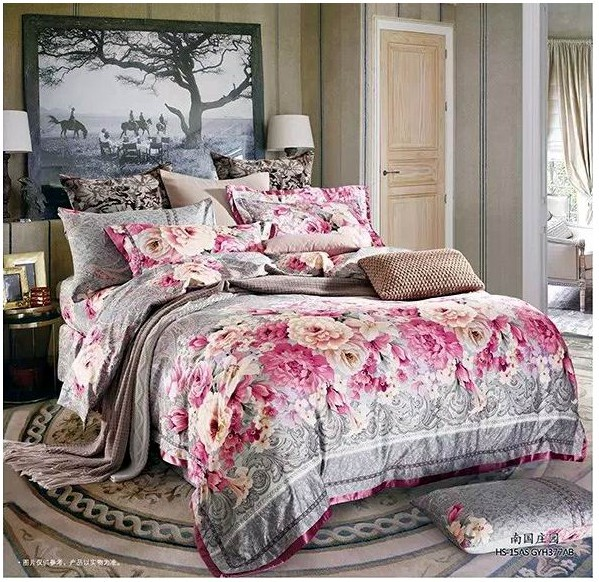 Luxury brand Egyptian cotton sheets bedding set 4pcs vintage floral king queen size quilt duvet cover bed in a bag bedspreads 60(China (Mainland))