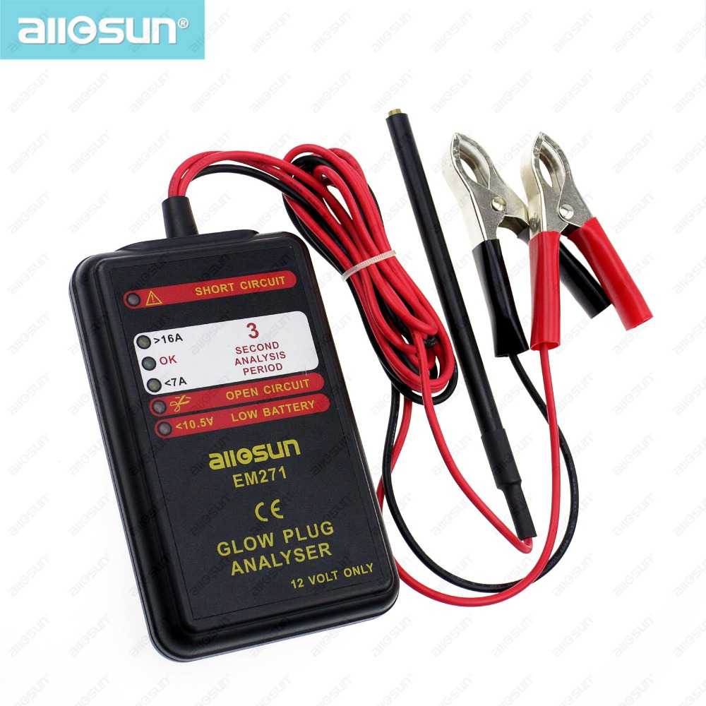 all-sun EM271 Glow Plug Analyser 6 LEDs Vehicle System Engine Diagnosis Tool 12Volt DC Automotive Electrical Battery Tester(China (Mainland))