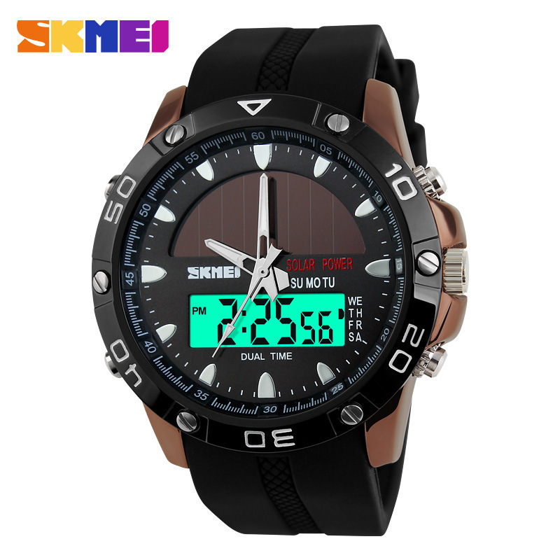 Energy Solar Watch Mens Digital Sports LED Watches Men Solar Power Dual Time Sports Digit Watch Men Military Watches Relojes<br><br>Aliexpress
