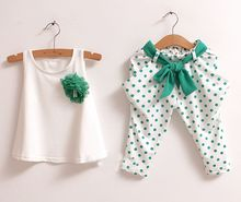 new 2015 children s clothing summer set child flower female vest polka dot harem pants kids