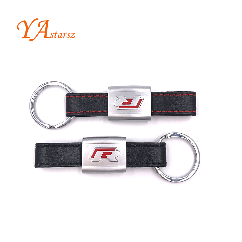 New Alloy PU Leather Keyring keychain Car Logo Black/Red R Line Rline Fit For VW Golf Jetta R32 R36 MK6 Key ring Car styling(China (Mainland))