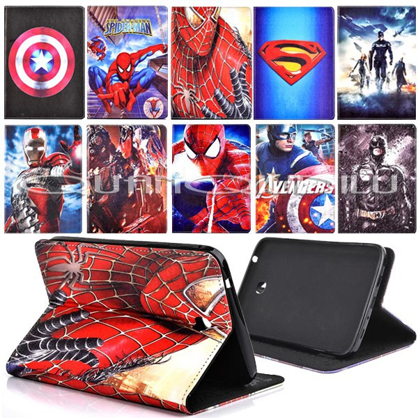 Spider-Man superman Captain America Iron Man case SAMSUNG Galaxy Tab3 7.0 stand cartoon flip cover High T211 P3200 - quanqiudilu store