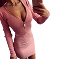 Long Sleeve Deep V neck Bodycon Womens Sexy Dresses Party Night Club Dress Party Knitted Mini
