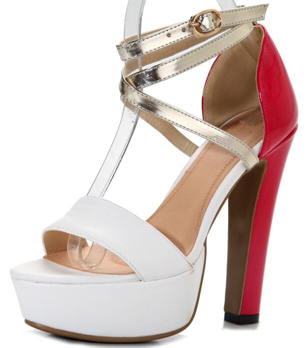 ENMAYER  Sexy Women round Toe gladiator sandals fashion women  Sandals sexy 2015 High Heels  Summer Shoes Wedding Party Sandals<br><br>Aliexpress