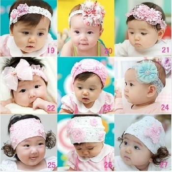 Free Shipping 2013 NEW  Boutique  Infant elastic lace mesh  headband  cute girls flower  headbands,10 pcs/lot