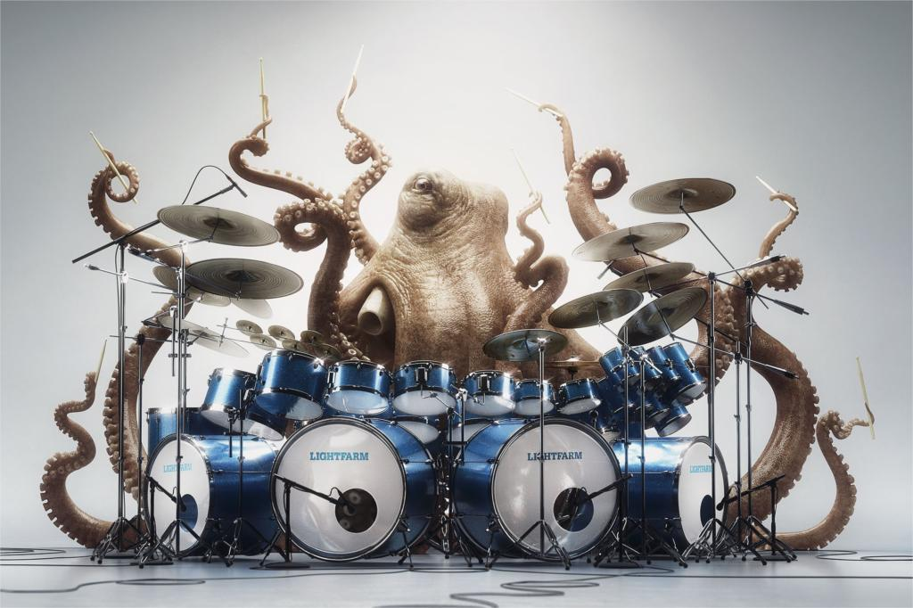 drums octopus music funny animal Poster Home Decor Wall Sticker 4 sizes Free Shipping(China (Mainland))
